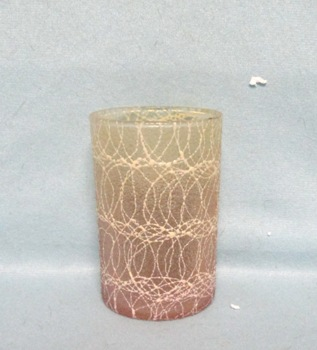 50s Lt Brown Small Juice Rubberized Spagetti String Glass - Product Image