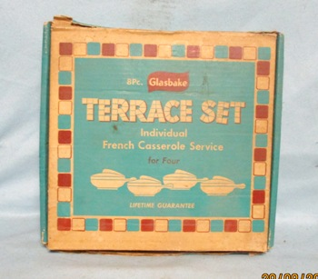 Glasbake 8 Pc Terrace Set 4 French Casseroles NIB - Product Image