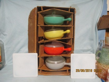 Glasbake 12 Pc Set 4 French Casseroles NIB - Product Image