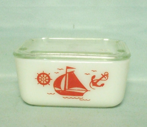 "McKee Red Ships 4"" by 5"" Refrigerator Dish w Lid - Product Image"