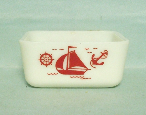 "McKee Red Ships 4"" by 5"" Refrigerator Dish no Lid - Product Image"