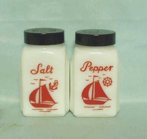 McKee Red Ships Salt & Pepper set w Plastic Lids - Product Image