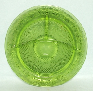"Indiana Glass Green Daisy 10 3/8"" Grill Plate - Product Image"