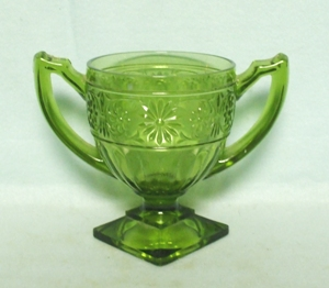 Indiana Glass Green Daisy Sugar Bowl - Product Image
