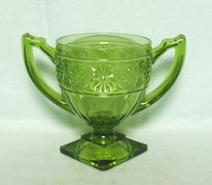 Indiana Glass Green Daisy Sugar Bowl - Product Image