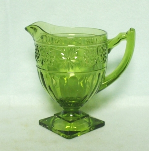 Indiana Glass Green Daisy Cream Pitcher - Product Image
