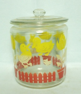 Childs Duck,Tulip,Lamb,& Rabbit Yellow & Red Canister - Product Image