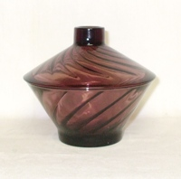 Hazel Atlas Moroccan Amethyst Swirl Short Candy Dish and Lid - Product Image