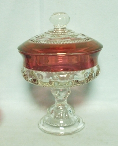 """Ruby Flashed Kings Crown 7 1/4"""" Compote & Lid - Product Image"""