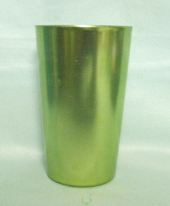 USA Unusual Aluminum Glass Set w Coasters and Liners - Product Image