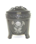 "Black Amythest 5"" Greek Key 3 Footed Fern Bowl w Silver Flowers - Product Image"