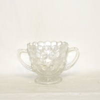 Crystal Bubble Glass Footed Sugar - Product Image