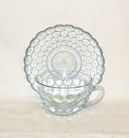 Sapphire Blue Bubble Glass Cup & Saucer Set - Product Image