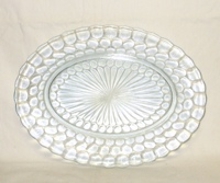 "Sapphire Blue Bubble Glass 12"" Oval Serving Platter - Product Image"