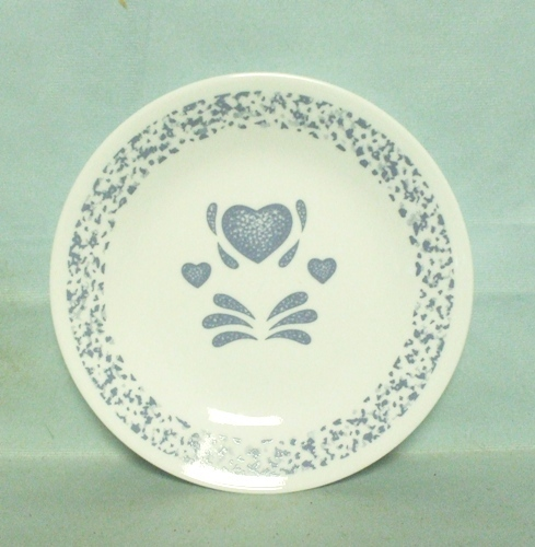 "Corelle Blue Hearts 6 3/4"" Bread Plate - Product Image"