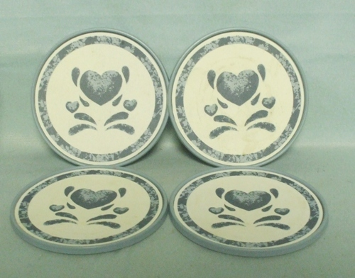 Corelle Blue Hearts Coordinates Set of 4 Plastic Coasters - Product Image