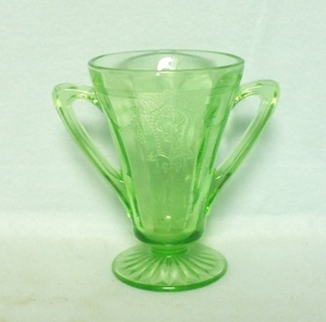 "Green Cameo (Ballerina) 4 1/4"" Footed Sugar - Product Image"