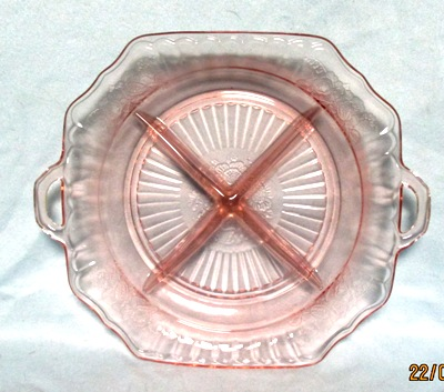 "Mayfair Pink 8 3/4"" 4 Part Divided Relish Plate - Product Image"