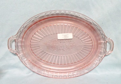 """Mayfair Pink 12"""" Oval Platter W Open Handles - Product Image"""