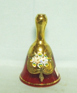 Cranberry Enameled Bell w Flower and Leaf Decorations - Product Image