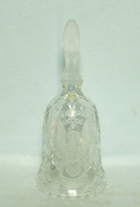 Lead Crystal Bell w Frosted Eagle & Pressed Design - Product Image
