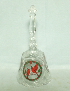 Lead Crystal Bell w Cardinal Bird Design - Product Image