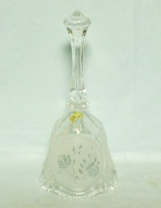 Lead Crystal Bell with Decorated Etched Roses - Product Image