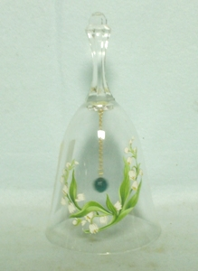 Medium Crystal Bell w Lily of the Valley Decoration - Product Image