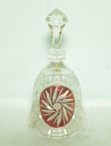 Lead Crystal Bell Red Buzzsaw Design By Jennie Lloyd Cafferty #12317 - Product Image
