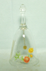 Medium Crystal Bell w Carnation Decoration - Product Image