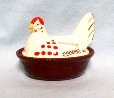 Unmarked Medium Ceramic White Hen on Nest - Product Image