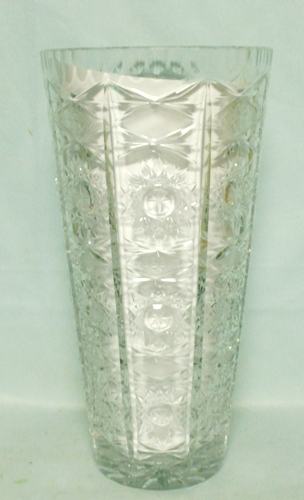 "Lead Crystal 10"" Tall Starburst Vase - Product Image"