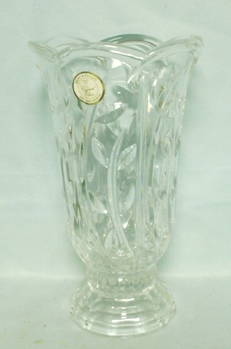 "Lead Crystal 24% Made in Poland 8 3/4"" Tall Leaf Design Vase - Product Image"