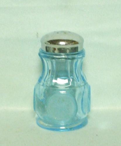 Coin Glass Light Blue Salt or Pepper Shaker - Product Image