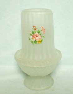 Indiana Glass Frosted w Roses Paneled Fairy Lamp - Product Image