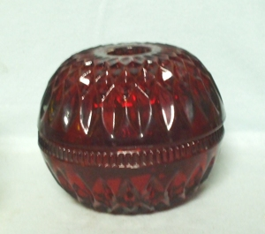 Indiana Glass Red Flashed Diamond Round Fairy Lamp - Product Image