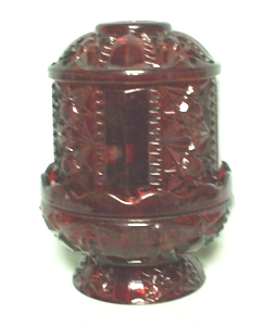 Indiana Glass Red Flashed Button & Star Fairy Lamp Complete - Product Image