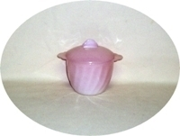 Fire King Pink Swirl Sugar Bowl & Lid - Product Image