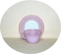 Fire King Pink Swirl Cup & Saucer set - Product Image