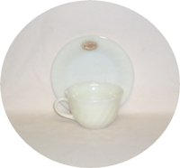Fire King Ivory Swirl Cup & Saucer Set - Product Image