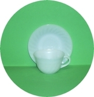 Fire King White Swirl Cup & Saucer Set - Product Image