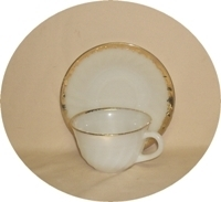 Fire King Golden Anniversary Swirl Cup & Saucer set - Product Image