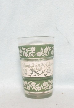 "Green & White Bands w Flowers Tapered 3 1/2"" Juice Glass - Product Image"