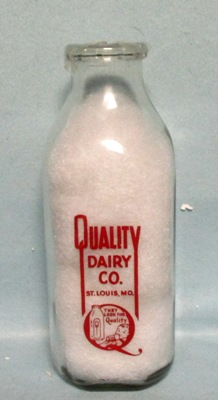 Quality Dairy Co St Louis Mo.1 Quart Square Milk Bottle - Product Image