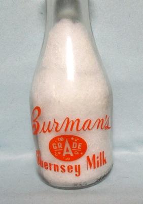 Burman's Grade A Guernsy Milk 1 Quart Round Milk Bottle - Product Image