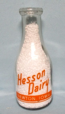 Hesson Dairy Newton Ia. 1 Quart Round Milk Bottle - Product Image