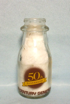 50th Ann.21st Century Genetics Round 1/2 Pint Milk Bottle - Product Image