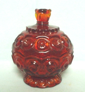 "Moon & Star Amberina 4 1/2"" Small Candy & Lid - Product Image"