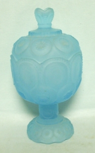 "Moon & Star Blue Satin 4 1/2"" #5294 Small Compote & Lid - Product Image"