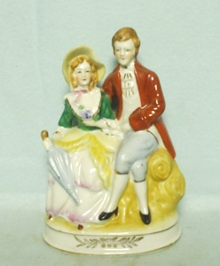 Occupied Japan Lady w Umbrella & Gentleman Figurine - Product Image